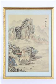 Sale 8849 - Lot 63 - A Chinese Watercolour of Mountain and Village Scene (38cm x 53cm)