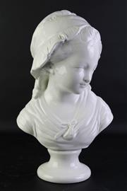 Sale 8849P - Lot 664 - Italian Ceramic Bust Of A Young Girl H:42cm