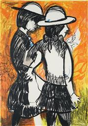 Sale 8992 - Lot 567 - Charles Blackman (1928 - 2018) - Schoolgirls 64 x 45 cm (frame: 94.5 x 76 x 6)