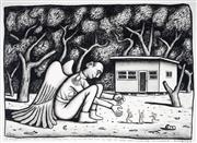 Sale 9030 - Lot 530 - Reg Mombassa (1951 - ) - A Winged Monster Plays With His Children, Sth Coast NSW, 2003 48.5 x 69 cm (frame: 78 x 96 x 3 cm)