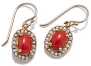 Sale 9046 - Lot 557 - A PAIR OF VICTORIAN STYLE CORAL AND PEARL EARRINGS; oval clusters each centring a cabochon coral surrounded by seed pearls on shephe...