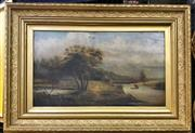 Sale 9072 - Lot 2007 - Artist Unknown (C19th) English Country Scene and River oil on canvas 60 x 84cm, unsigned -