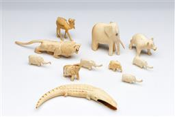 Sale 9093P - Lot 40 - Collection Ivory and Bone Animals including Lion (16.5cm).