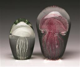 Sale 9114 - Lot 45 - Graduated pair of glass Jellyfish paperweights (H:12cm)