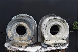 Sale 9135H - Lot 201 - A pair Of 18/19th Century French zinc roof vents. 72cm Height, 67cm Width