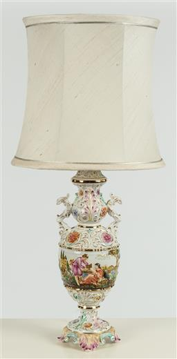 Sale 9099 - Lot 234 - A hand painted Italian amphora based lamp, Total Height 90cm