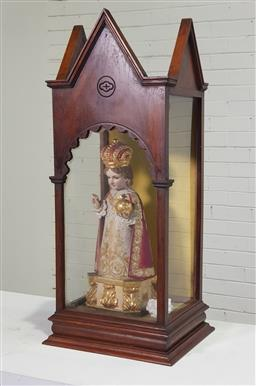 Sale 9196 - Lot 1059 - Good Spanish/ Hispanic Carved & Polychrome Figure of Infant Jesus in a Display Case, richly dressed as a king giving blessing and ho...