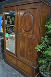 Sale 8087 - Lot 1010 - Late Victorian Mahogany & Satinwood Inlaid Wardrobe, with a  mirror & timber panel door above two drawers