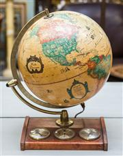 Sale 8287A - Lot 63 - An impressive vintage world globe lamp with 3 working dials including temperature & barometer, 45cm high x 30cm wide x 33cm deep