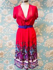 Sale 8474A - Lot 67 - An Elise boutique crimson chiffon dress with floral hemline, new with tags, size 14