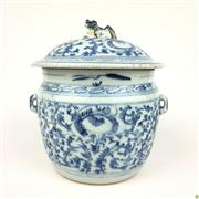 Sale 8562R - Lot 264 - C19th Chinese Blue and White Ceramic Lidded Container (H: 21cm)