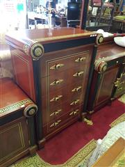 Sale 8566 - Lot 1425 - Inlaid 5 Drawer Chest with Ebonised and Gilt Highlights