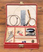 Sale 8694A - Lot 30 - A jewellery box containing a small quantity of items including silver bracelets, odd earrings rosary beads etc.