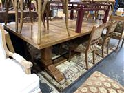 Sale 8901F - Lot 1035 - Large Parquetry Top Dining Table on Stretcher Base