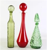 Sale 8926 - Lot 14 - Group of Large coloured glass Genie Bottles (3) incl. a grape form example (H40.5cm)