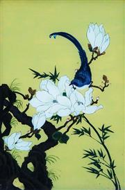 Sale 8938A - Lot 5050 - Chinese School (XIX) - Sparrows On Wildflowers, c1900 51 x 32 cm (frame: 56 x 38 x 3 cm)