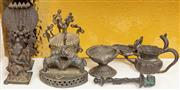 Sale 8976H - Lot 34 - A group of small cast Indian bronze figures and vessels including Shiva, Ganesh and oil bottles, tallest 12cm