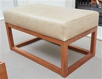 Sale 9090H - Lot 14 - A leather rectangular ottoman in latte. Height 48cm x Width 85cm x Depth 50cm (ensuite to lot 12)