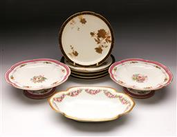 Sale 9098 - Lot 353 - Pair of Copeland comports (Dia24cm) together with a Rosenthal dish (W29cm0 and CFH GDM dishes (Dia22cm, chipped)