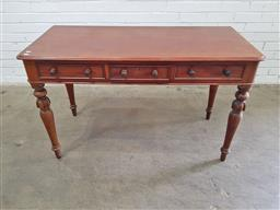 Sale 9162 - Lot 1001 - Victorian mahogany desk, with three drawers & turned carved legs (h:75 xw:122 xd:54cm)