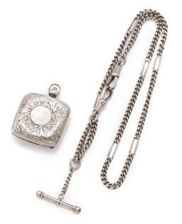 Sale 9186 - Lot 381 - A SILVER SOVEREIGN CASE AND ALBERT CHAIN; a 3mm wide curb link chain with 6 long engraved feature links, t-bar and 2 swivel clasps,...