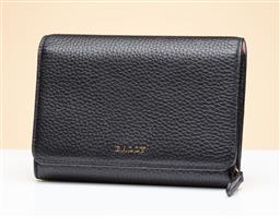 Sale 9253J - Lot 401 - A BALLY BLACK LEATHER WOODLO WALLET; grained calf leather flap front wallet with gold tone BALLY and hardware, with press stud closu...
