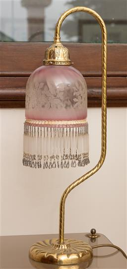 Sale 9260M - Lot 73 - Antique style bedside lamp with beaded glass shade
