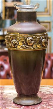 Sale 8287A - Lot 64 - A beautiful brass floral vase, includes original removable glass vase mounted in top for practical use, 51cm high x 21cm diameter at...