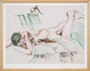 Sale 8420 - Lot 537 - Margaret Olley (1923 -2011) - Untitled (Reclining Nude) 40 x 53.5cm