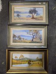 Sale 8437 - Lot 2049 - (3 works) William OShea (1934 - ) Yarrabella Landscape, oil on canvas board, 22.5 x 43cm, signed lower left, plus 2 Jindabyne Lan...