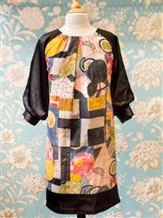 Sale 8474A - Lot 68 - An arty 60s style Japanese print dress w 3/4 balloon sleeves, in great condition, size 8