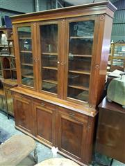 Sale 8653 - Lot 1041 - Late 19th Century Aesthetic Movement Cedar Library Bookcase, with there glass panel doors, above three drawers & three panel doors w...