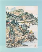 Sale 8849 - Lot 64 - A Chinese Watercolour Stamped Lower Left Depicting Village and River Scene (54cm x 60cm)