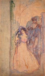 Sale 9013 - Lot 590 - Attributed to Charles Conder (1868 - 1909) - Figures in Garden 35.5 x 21.5 cm (frame: 54 x 40 x 5 cm)