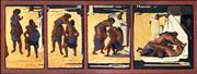 Sale 9030 - Lot 511 - Tom Thompson (1923 - 2019) - Cock Fight at Camp Charleyong 55 x 143 cm (frame: 63 x 152 x 3 cm)