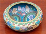 Sale 9055H - Lot 49 - An impressive cloisonne bowl decorated with imperial dragons and flaming pearls externally and internally. Diameter: 16cm.