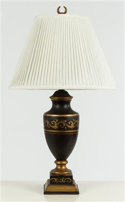 Sale 9099 - Lot 55 - A black and gilt painted lamp, Total Height 79cm