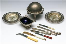 Sale 9156 - Lot 292 - Collection of various butter dishes and knives inc English silver handle examples