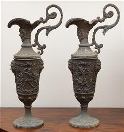 Sale 9190W - Lot 76 - A pair of neoclassical spelter ewers. Height 42cm