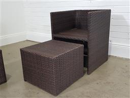 Sale 9255 - Lot 1404 - Pair of wicker outdoor armchairs with stools (h:70 w:55 d:55cm)