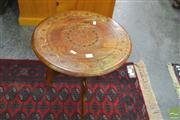 Sale 8251 - Lot 1026 - Inlaid Eastern Table on tripod base