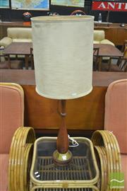 Sale 8275 - Lot 1016 - Teak Turned Timber Standard Lamp w Brass Base Plate