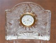 Sale 8341A - Lot 85 - A frosted lead crystal floral decorated boudoir clock, W 10cm