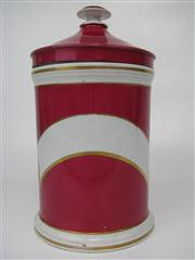Sale 8451B - Lot 35 - 1880s Cerise Pharmacy Jar with Lid