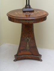 Sale 8677B - Lot 563 - An empire style walnut tripod occasional table with ormolu Grecian figures on paw feet H x 81cm, D x 47cm