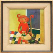 Sale 8784 - Lot 2002 - Madelaine (Mardi) Daens The Doll enamel on board, 22 x 22cm, signed lower right -