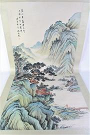 Sale 8890T - Lot 59 - A Large Chinese Watercolour Scroll of A Mountain and Landscape Scene (L 208cm)