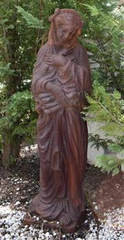 Sale 8950G - Lot 8 - A large cast iron statue of winter. 1.78m Height