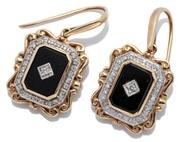 Sale 9046 - Lot 390 - A PAIR OF VICTORIAN INSPIRED ONYX AND DIAMOND EARRINGS; 19 x 16.6mm plaques each centring a round brilliant cut diamond set on an on...