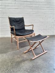 Sale 9076 - Lot 1049 - Carl Hansen and Son Armchair with Leather Upholstery and Footstool (h:84 x w:65 x d:47cm)